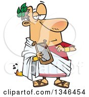 Cartoon Nero Fiddling With A Lyre While Rome Burns