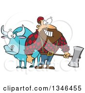 Cartoon Paul Bunyan Lumberjack Holding An Axe By Babe The Blue Ox