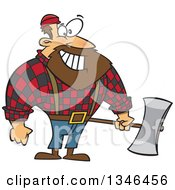 Cartoon Paul Bunyan Lumberjack Holding An Axe