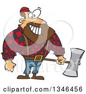 Cartoon Paul Bunyan Lumberjack Holding An Axe
