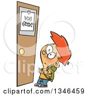 Clipart Of A Cartoon Red Haired Caucasian School Boy Looking Up At A Next Grade Door Royalty Free Vector Illustration