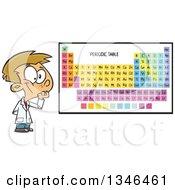 Cartoon Caucasian School Boy Thinking By A Periodic Table
