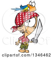 Clipart Of A Cartoon Caucasian Pirate Boy With A Sword And Parrot On His Head Royalty Free Vector Illustration