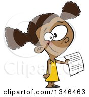 Cartoon Black School Girl Holding Out An Assignment