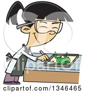 Clipart Of A Cartoon Asian School Girl Dissecting A Frog In Class Royalty Free Vector Illustration