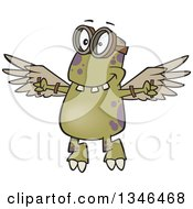 Clipart Of A Cartoon Monster Wearing Goggles And Flying With Strapped Wings Royalty Free Vector Illustration by toonaday