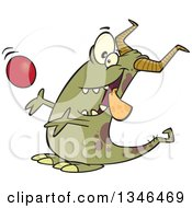 Clipart Of A Cartoon Monster Catching A Ball Royalty Free Vector Illustration