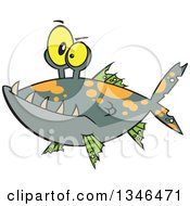 Clipart Of A Cartoon Monster Fish Royalty Free Vector Illustration