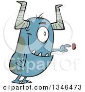 Clipart Of A Cartoon Monster Pushing A Button Royalty Free Vector Illustration