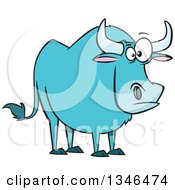 Clipart Of A Cartoon Paul Bunyans Babe The Blue Ox Royalty Free Vector Illustration