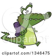 Clipart Of A Cartoon Student Alligator Walking With A Backpack Royalty Free Vector Illustration by toonaday