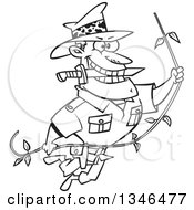 Cartoon Black And White Male Adventurer Explorer Swinging On A Vine Biting A Knife In His Teeth