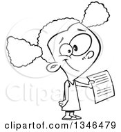 Lineart Clipart Of A Cartoon Black And White Black School Girl Holding Out An Assignment Royalty Free Outline Vector Illustration