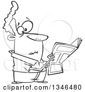 Cartoon Black And White Man Reading Terrible News In The Paper
