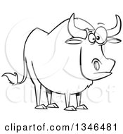 Lineart Clipart Of A Cartoon Black And White Paul Bunyans Babe The Blue Ox Royalty Free Outline Vector Illustration by toonaday