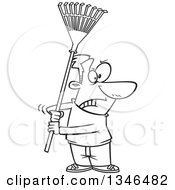 Lineart Clipart Of A Cartoon Black And White Man Ready To Fight With A Rake Royalty Free Outline Vector Illustration by toonaday