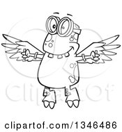 Lineart Clipart Of A Cartoon Black And White Monster Wearing Goggles And Flying With Strapped Wings Royalty Free Outline Vector Illustration