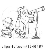 Lineart Clipart Of A Cartoon Black And White Man Gallileo Looking Through A Telescope Royalty Free Outline Vector Illustration by toonaday