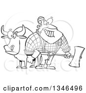Lineart Clipart Of A Cartoon Black And White Paul Bunyan Lumberjack Holding An Axe By Babe The Blue Ox Royalty Free Outline Vector Illustration by toonaday