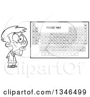 Lineart Clipart Of A Cartoon Black And White School Boy Thinking By A Periodic Table Royalty Free Outline Vector Illustration by toonaday
