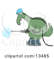 Big Green Dino In A Hard Hat And Boots Operating A Pressure Washer