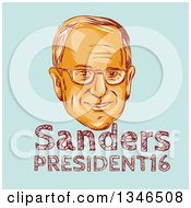 Clipart Of A Retro Styled Face Of Bernie Sanders Democratic 2016 Presidential Candidate With Text Over Blue Royalty Free Vector Illustration