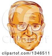 Clipart Of A Retro Styled Orange Face Of Bernie Sanders Democratic 2016 Presidential Candidate Royalty Free Vector Illustration