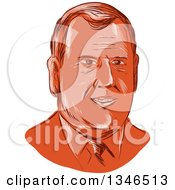 Clipart Of A Retro Styled Face Of Chris Christie 2016 Presidential Candidate Royalty Free Vector Illustration