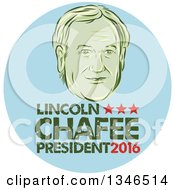 Clipart Of A Retro Styled Face Of Lincoln Chaffee 2016 Presidential Candidate With Text In A Blue Circle Royalty Free Vector Illustration