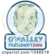 Clipart Of A Retro Styled Face Of Martin OMalley 2016 Presidential Candidate With Text In A Frame Royalty Free Vector Illustration