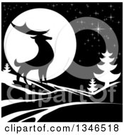 Clipart Of A Black Silhouetted Buck Deer With Evergreens Under A Full Moon At Night Royalty Free Vector Illustration by AtStockIllustration