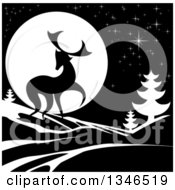 Clipart Of A Black Silhouetted Buck With Evergreens Under A Full Moon At Night Royalty Free Vector Illustration by AtStockIllustration