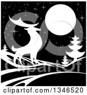Clipart Of A White Silhouetted Buck Deer With Evergreens Under A Full Moon At Night Royalty Free Vector Illustration by AtStockIllustration