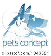 Clipart Of Shiny Blue Profiled Dog And Cat Faces Over Sample Text Royalty Free Vector Illustration