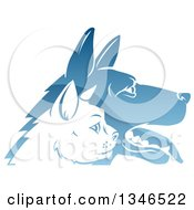 Clipart Of Shiny Blue Profiled Dog And Cat Faces Royalty Free Vector Illustration
