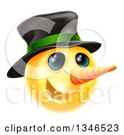3d Christmas Snowman Yellow Smiley Emoji Emoticon Face Wearing A Hat