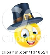 Clipart Of A 3d Thanksgiving Pilgrim Yellow Smiley Emoji Emoticon Face Wearing A Hat Royalty Free Vector Illustration by AtStockIllustration
