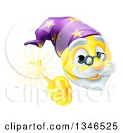 Clipart Of A 3d Wizard Yellow Smiley Emoji Emoticon Face Holding A Magic Wand Royalty Free Vector Illustration by AtStockIllustration