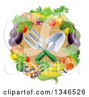 Clipart Of Crossed Garden Tools Over Wood In A Vegetable Wreath Royalty Free Vector Illustration by AtStockIllustration