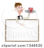 Cartoon Caucasian Male Waiter With A Curling Mustache Holding A Red Love Heart On A Tray And Pointing Down Over A Blank White Menu Sign