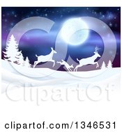 Clipart Of A White Silhouetted Family Of Deer Leaping Over Snowy Hills And Evergreens Under A Full Moon Royalty Free Vector Illustration