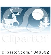Clipart Of A Buck Deer In A Hilly Winter Landscape Under A Full Moon At Night Royalty Free Vector Illustration by AtStockIllustration