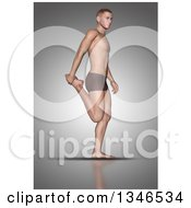 Clipart Of A 3d Fit Caucasian Man Stretching Holding A Foot On Gray Royalty Free Illustration