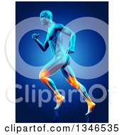 Clipart Of A 3d Anatomical Man Running With Visible Muscles And Glowing Knee And Ankle Joints On Blue Royalty Free Illustration