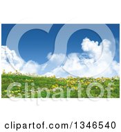 3d Hill With Grass Buttercup And Daisy Flowers Against A Sky With Puffy Clouds