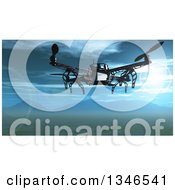 Clipart Of A 3d Metal Quadcopter Drone Flying Over A Valley With A View Of Mountains Royalty Free Illustration