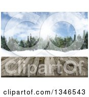 Clipart Of A 3d Close Up Of A Wooden Table Or Deck With A Blurred View Of A Winter Forest Royalty Free Illustration