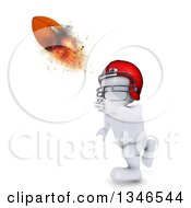 Clipart Of A 3d White Man Catching Or Throwing A Flaming Football Royalty Free Illustration by KJ Pargeter