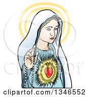 Clipart Of Virgin Mary Glowing And Holding A Rosary Royalty Free Vector Illustration
