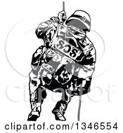 Clipart Of A Black And White Special Police Force Officer On A Rope Royalty Free Vector Illustration